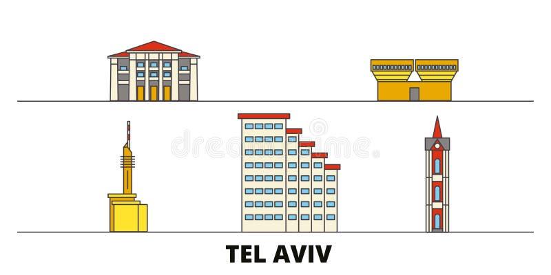 Istael, illustration plate de vecteur de points de repère de Tel Aviv Istael, ligne ville avec des vues célèbres de voyage, horiz illustration libre de droits