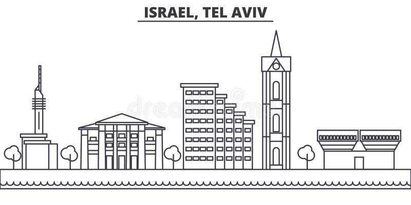 Istael, Tel Aviv architektury linii linii horyzontu ilustracja Liniowy wektorowy pejzaż miejski z sławnymi punktami zwrotnymi, mi ilustracji