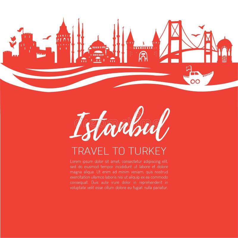 Istambul Curso a Turquia Ilustração lisa moderna do vetor de marcos turcos famosos: Torre de Galata, ponte de Bosphorus, Mosq azu ilustração do vetor