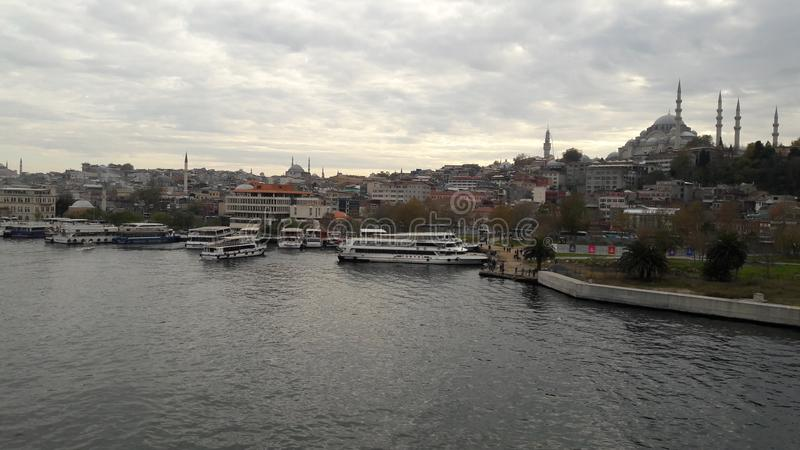 Istambul old street river bridge stock photo