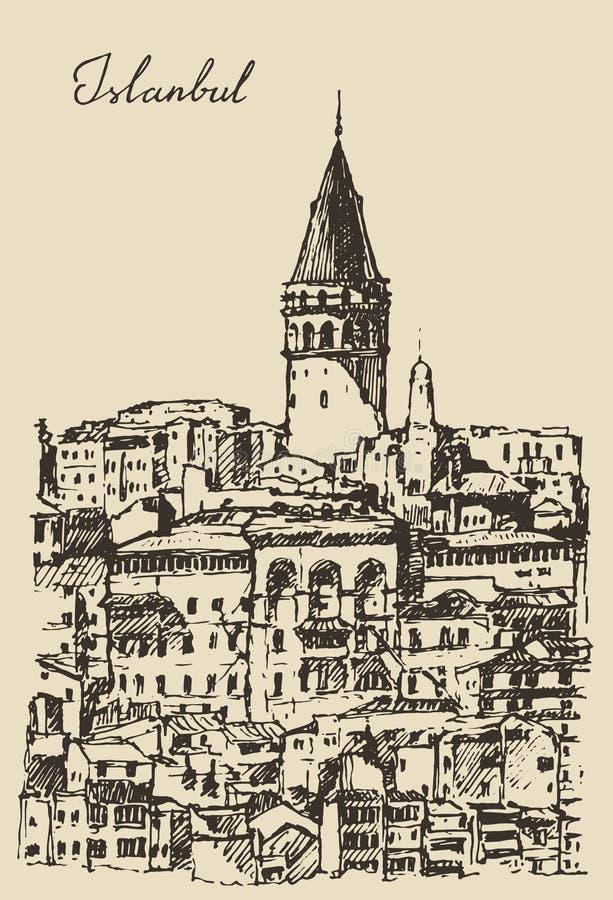 Istambul, Turquia, arquitetura da cidade, torre de Galata ilustração royalty free