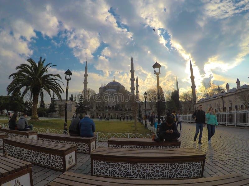 Istambul, Turquia - 6 de março de 2019: Mesquita azul da mesquita de Sultanahmet em Istambul, Turquia imagens de stock
