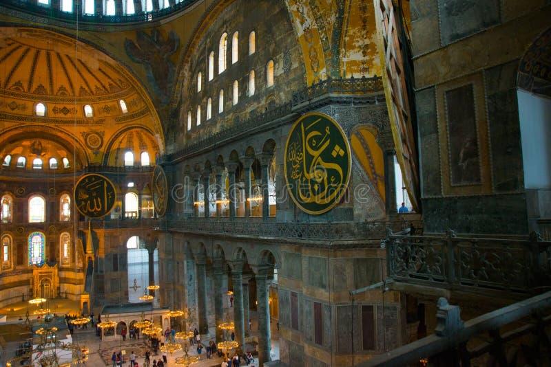 ISTAMBUL, Turquia: Interior do Hagia Sofia Mosque em Istambul, Turquia Hagia Sophia é basílica patriarcal ortodoxo anterior, imagem de stock royalty free