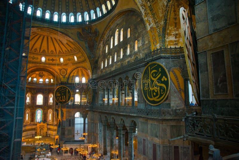 ISTAMBUL, Turquia: Interior do Hagia Sofia Mosque em Istambul, Turquia Hagia Sophia é basílica patriarcal ortodoxo anterior, fotografia de stock