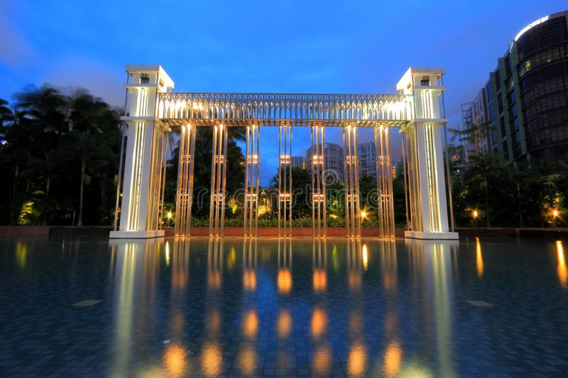 Istana Park,The Festival Arch, Singapore. Istana Park, Singapore's premier park, offers a number of unique features not found in other parks on the island. The stock photo