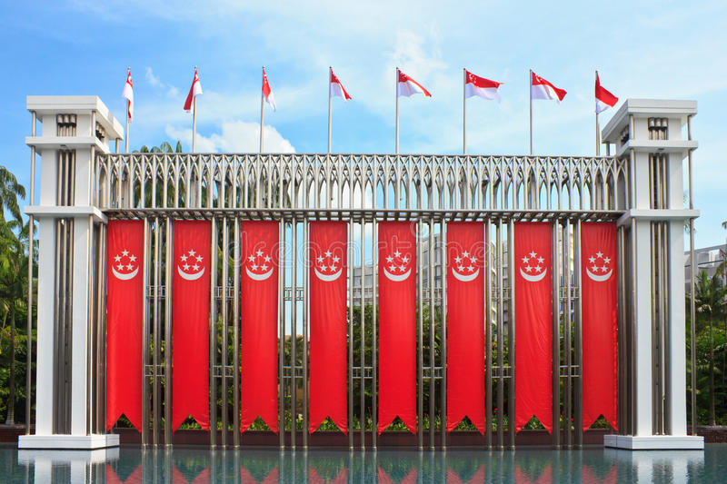Istana Park. Many Singapore flag Front of Istana Park stock image
