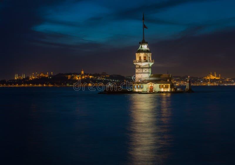 Istanboel bij Nacht royalty-vrije stock afbeeldingen