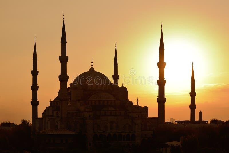 Istanboel Blauwe Moskee bij Zonsondergang royalty-vrije stock afbeeldingen