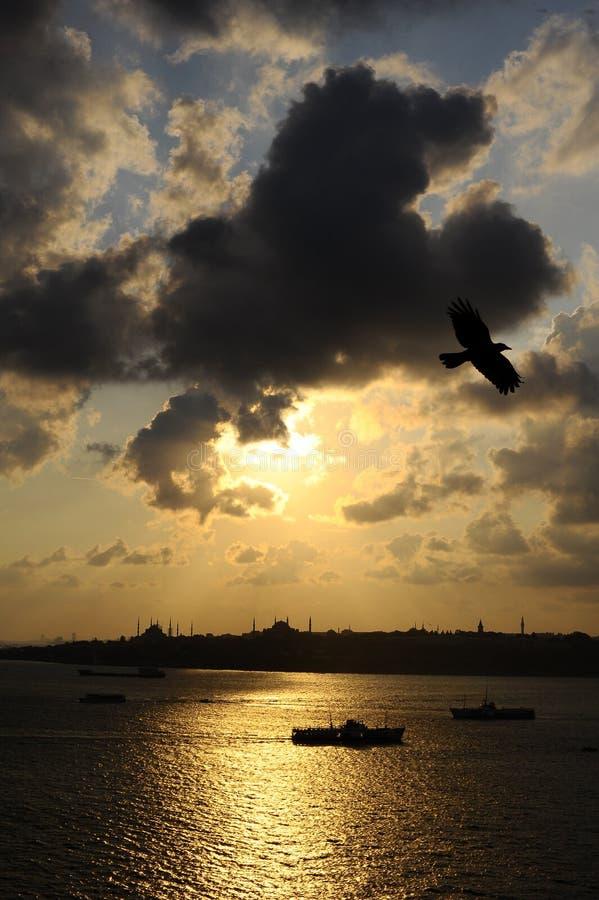 Istanboel Bosphorus en schip op zonsondergangachtergrond royalty-vrije stock afbeelding