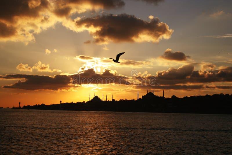 Istanboel, Silhouet stock afbeeldingen