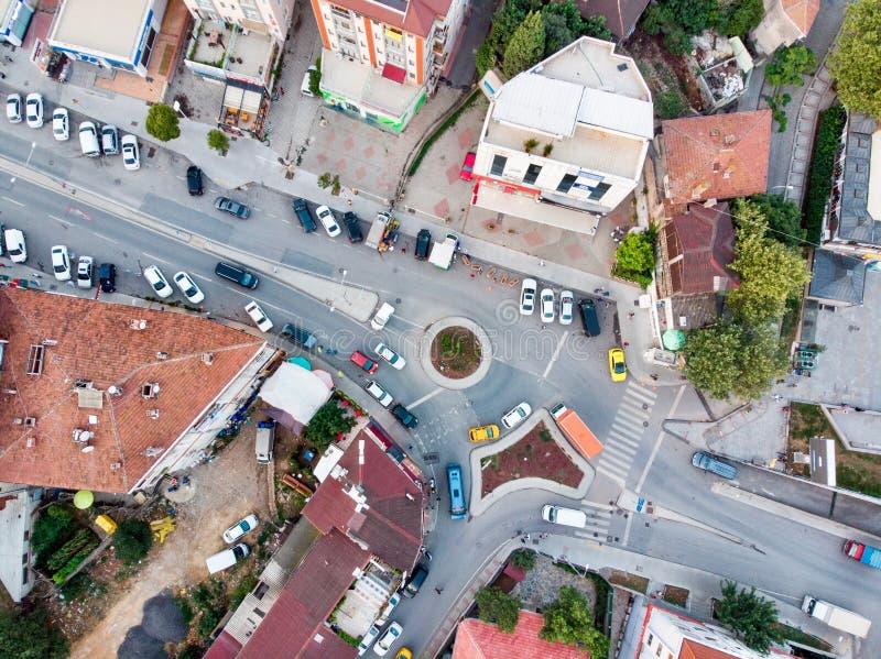 Istanboel, Turkije - Februari 23, 2018: Luchthommelmening van Ongeplande Urbanisatie Istanboel Kartal Yakacik royalty-vrije stock afbeeldingen