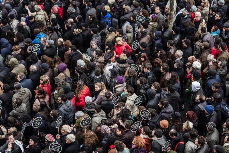 ISTANBOEL, TURKIJE - 19 JANUARI, 2012: Doodsverjaardag van Hrant Dink stock afbeeldingen