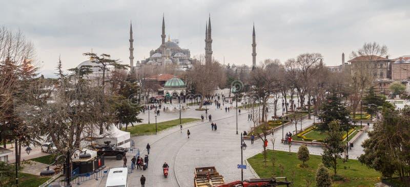 Istanboel, Turkije - Maart 21, 2019: Hoofdartikel: Blauwe Moskee, ook genoemd Sultan Ahmed Mosque of Sultan Ahmet Mosque royalty-vrije stock foto's