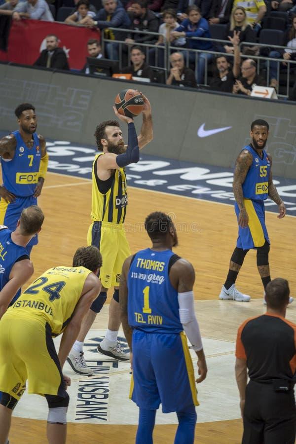 Istanboel/Turkije - Maart 20, 2018: Professionele het basketbalspeler van Luigi Datome voor Fenerbahce stock foto's