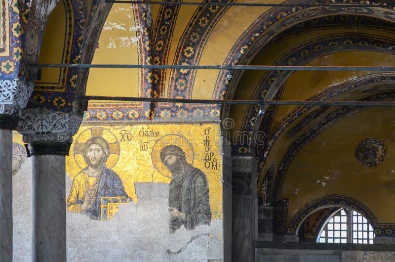 Istanboel, TURKIJE, 18 September, 2018 Binnenland en mozaïek van Hagia Sophia in Istanboel royalty-vrije stock afbeelding