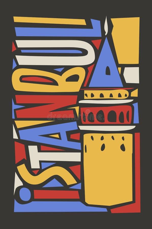 Istanbuł linoleumu stylu miasta kolorowa ilustracja ilustracja wektor