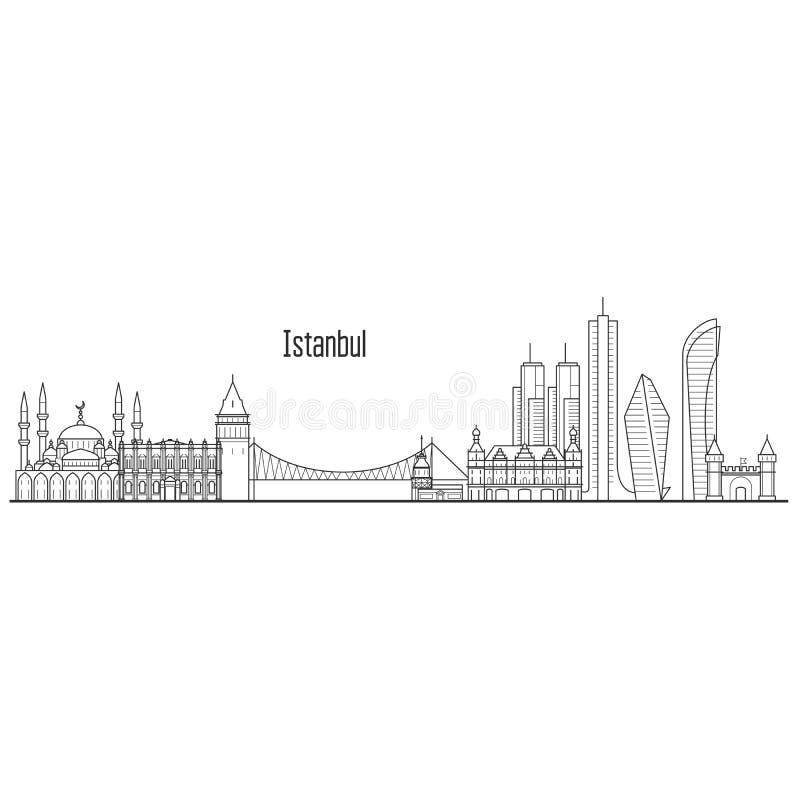 Istanbuł miasta linia horyzontu i punktu zwrotnego pejzaż miejski - góruje ilustracji