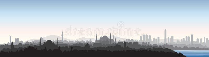 Istanbuł miasta linia horyzontu Podróży Turcja tło Turecki miastowy pejzaż miejski ilustracji
