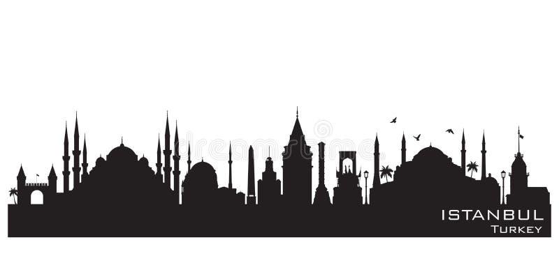 Istanbuł miasta linii horyzontu wektoru Indycza sylwetka royalty ilustracja