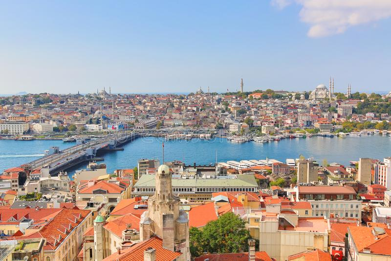 Istanbuł panorama od Galata wierza podczas lato słonecznego dnia Istanbuł, Turcja obraz royalty free