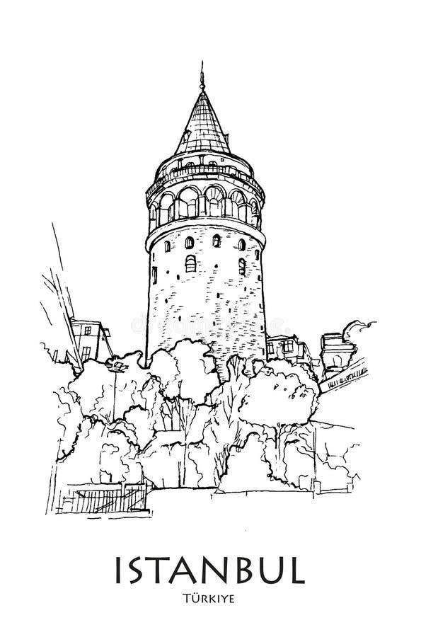 ISTANBUŁ TURCJA, Galata wierza, - Ręka tworzący nakreślenie ilustracji