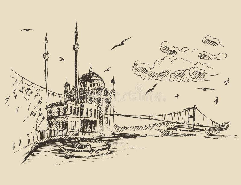 Istanbuł, Turcja, miasto, Bosphorus rocznik Grawerujący royalty ilustracja