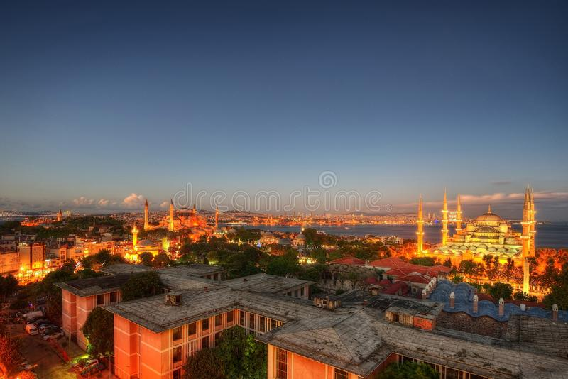 Istanbul Aerial with Blue Mosque and Hagia Sophia royalty free stock photos