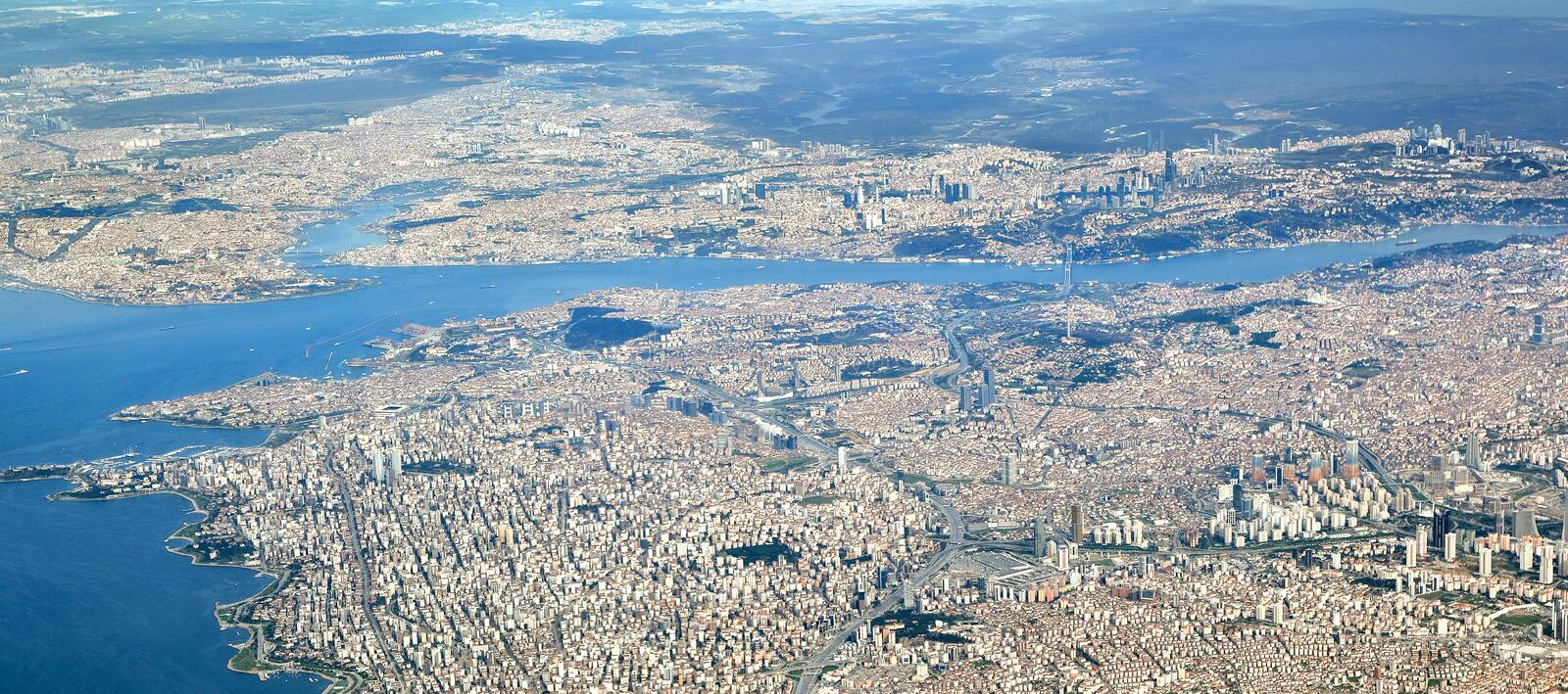 Istanbul, Aerial View. View of both European and Asian side as well as the Golden Horn, Bosporus straits and Sea of Marmara stock photos
