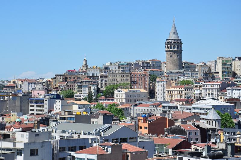 Istanbul aerial view to city and Galata Bridge. Turkey royalty free stock photos