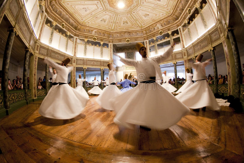 ISTANBUL, TURKEY - August 31, 2014: Mevlevi Whirling Dervishes. Mevlevi Whirling Dervish Hall in Galata Mevlevi Lodge, also known as Museum of Court Literature stock images