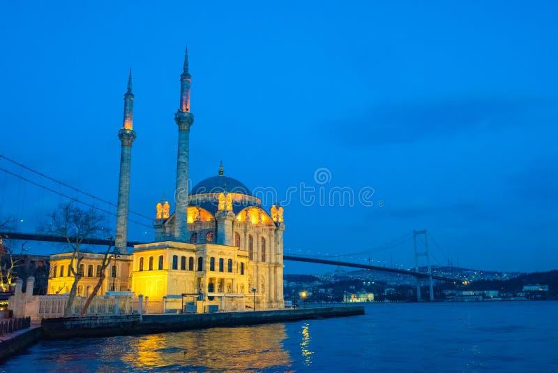 Istanbul Ortakoy Mosque and Bosphorus Bridge. Istanbul beautiful night Ortakoy Mosque and Bosphorus Bridge, Istanbul Turkey. Best touristic destination of stock image