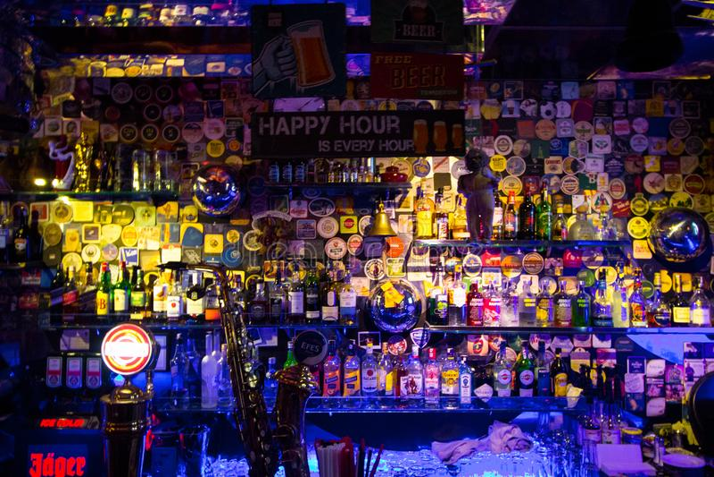 Istanbul, Beyoglu / Turkey 04.11.2019: Blues House, Colorful Design Bar Shelf stock photography