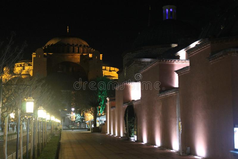 Istanbul - Blue Mosque by night. Turkey stock photo