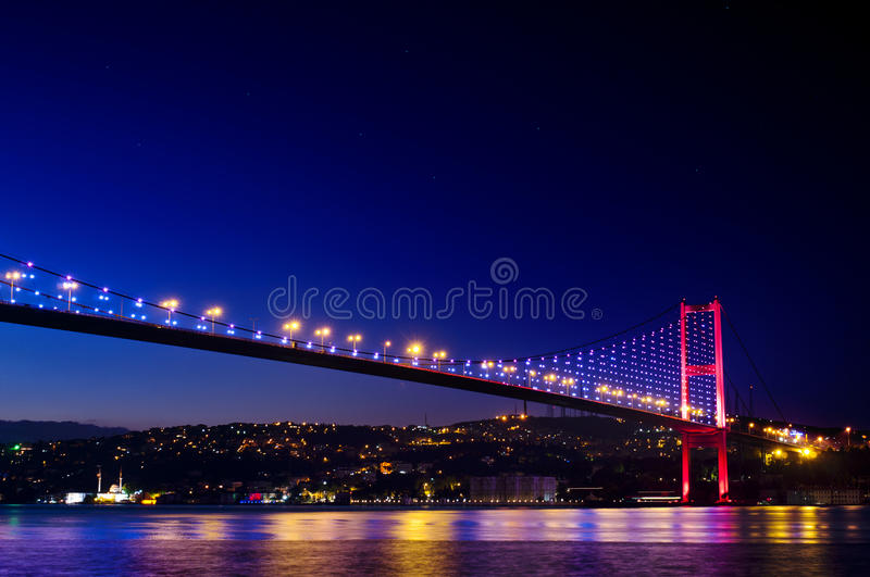 Istanbul Bosphorus Bridge. Photo of The Bosphorus Bridge of Istanbul at sunrise. It unites two different continents, Asia and Europe. Here, the visible continent