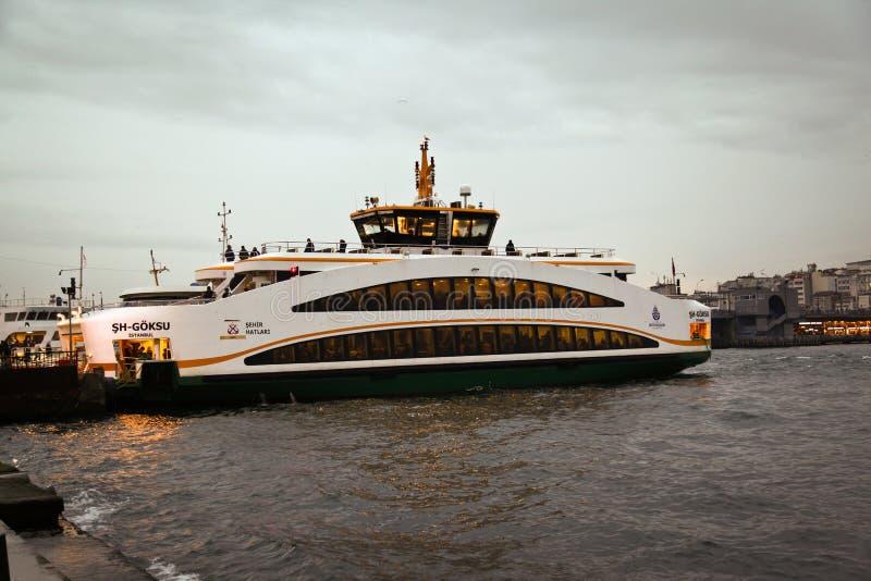 Istanbul bosphorus passenger ferry rear view stock image