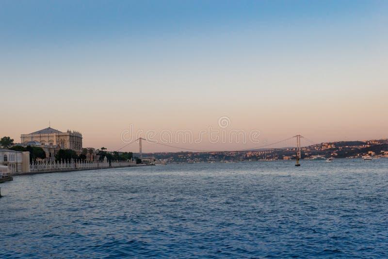 Istanbul bridge. Sunset royalty free stock images