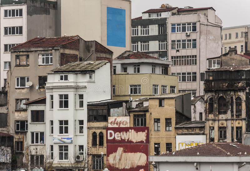 Istanbul buildings. Istanbul, Turkey - February 11, 2013: cityscape view and buildings facade on September 11, 2013 on istanbul royalty free stock image