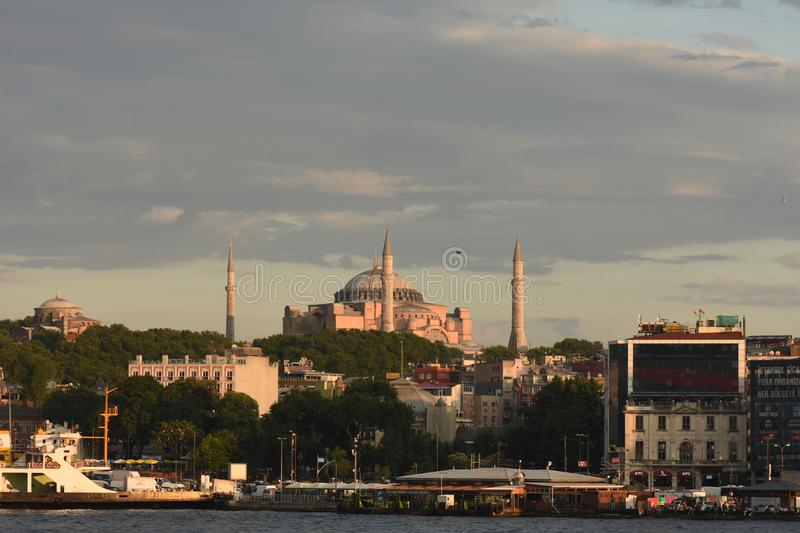 Istanbul the capital of Turkey, eastern tourist city. Beach scene cruise turkey tower mediaeval destination coast travel view turkish peninsula royalty free stock photography