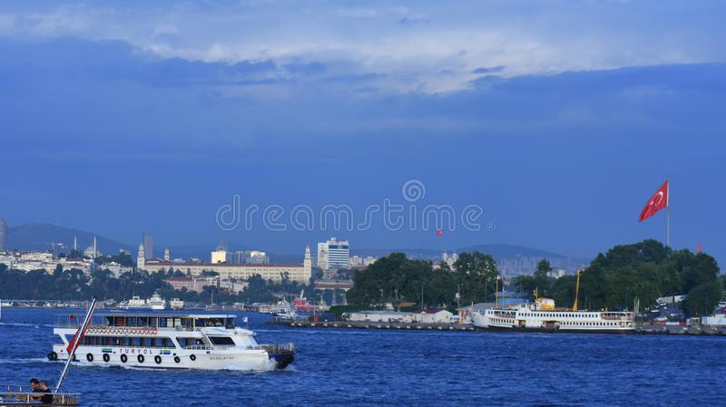 Istanbul the capital of Turkey, eastern tourist city. Beach scene cruise turkey tower mediaeval destination coast travel view turkish peninsula stock photography