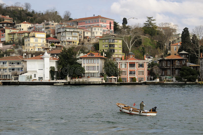 Istanbul city. Buildings along Bosporus in Istanbul royalty free stock images