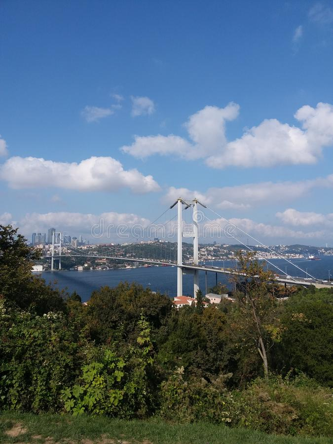 Ä°stanbul city bridge and blue sea stock images