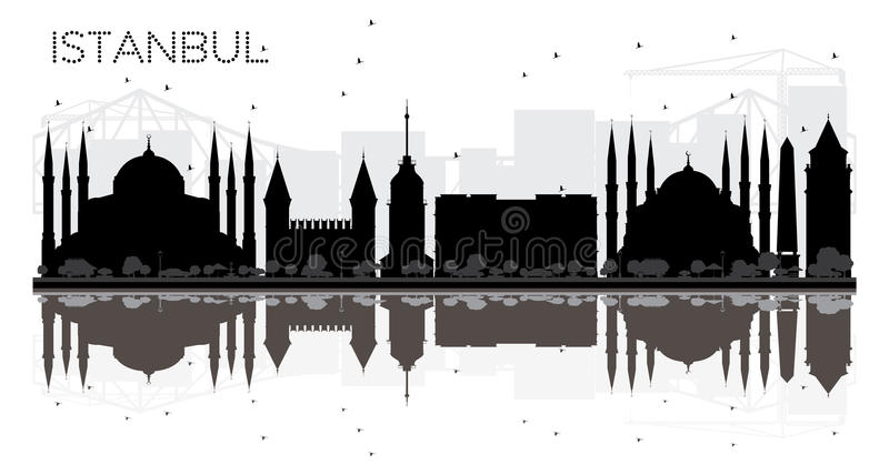 Istanbul City skyline black and white silhouette with reflection. S. Vector illustration. Simple flat concept for tourism presentation, banner, placard or web stock illustration