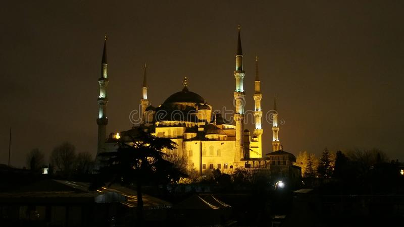 Istanbul city sultan Ahmet mosque and minarets night street photo. Istanbul city, Sultan Ahmet Mosque minarets night strееt landscape and facade lighting stock images