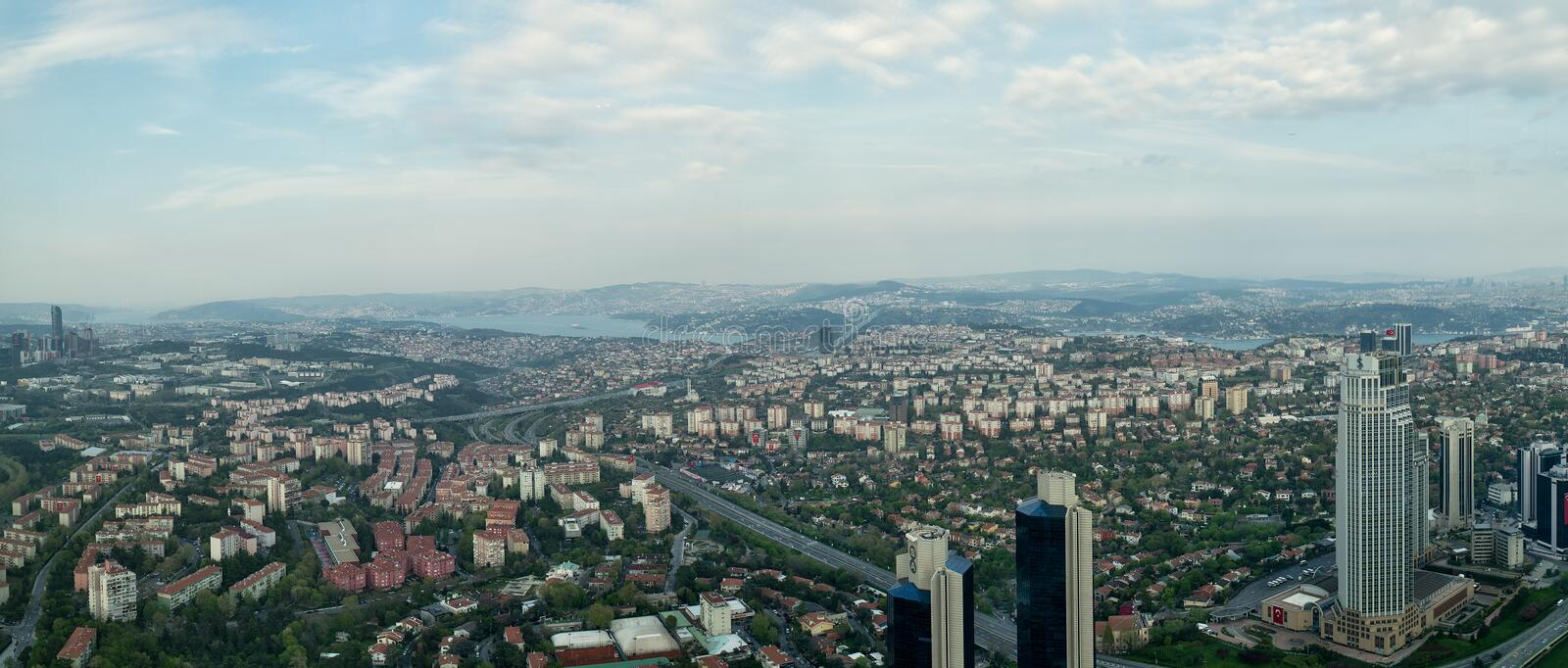 Istanbul city view from Istanbul Sapphire skyscraper before sunset, Istanbul, Turkey stock photo