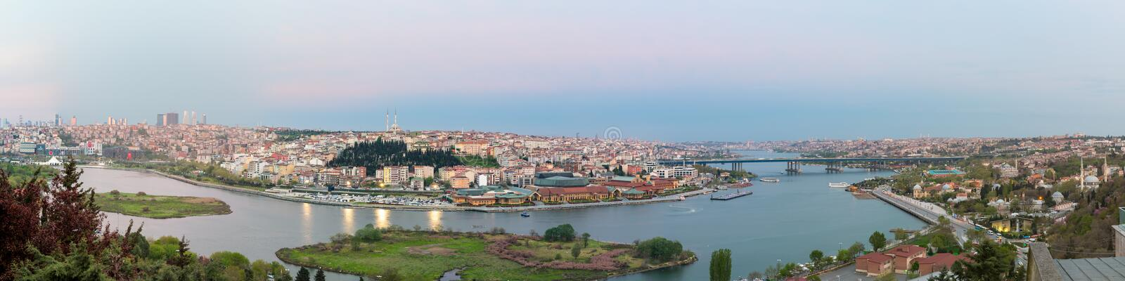 Istanbul city view from Pierre Loti Teleferik station at dusk time, Eyup District, Istanbul, Turkey stock image
