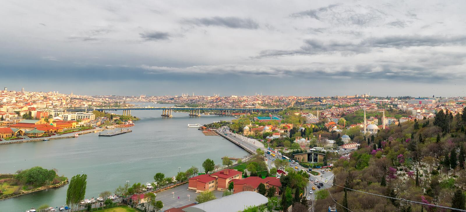 Istanbul city view from Pierre Loti Teleferik station overlooking Golden Horn, Eyup District, Istanbul, Turkey royalty free stock photo