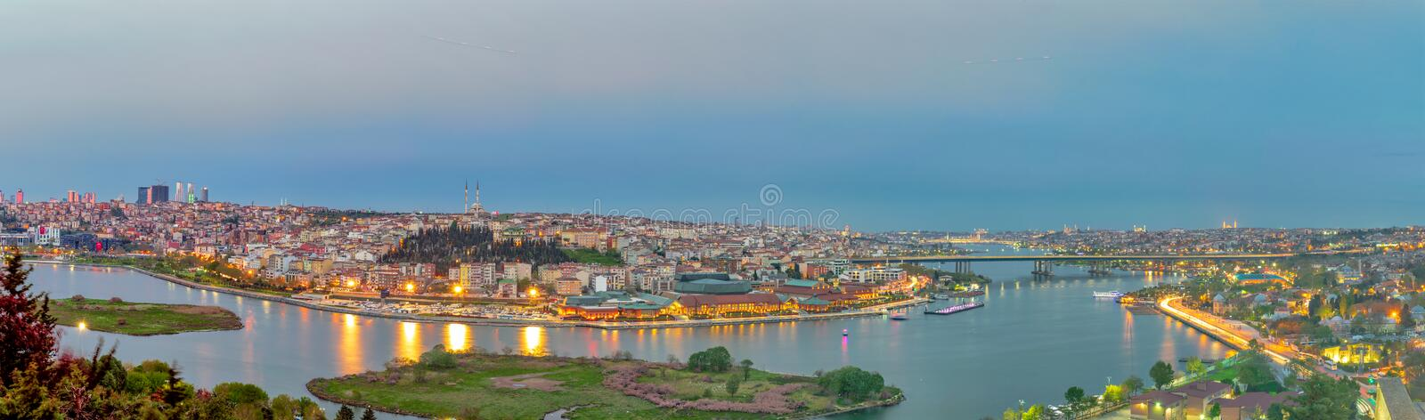 Istanbul city view from Pierre Loti Teleferik station overlooking Golden Horn at sunset, Eyup District, Istanbul, Turkey royalty free stock photography
