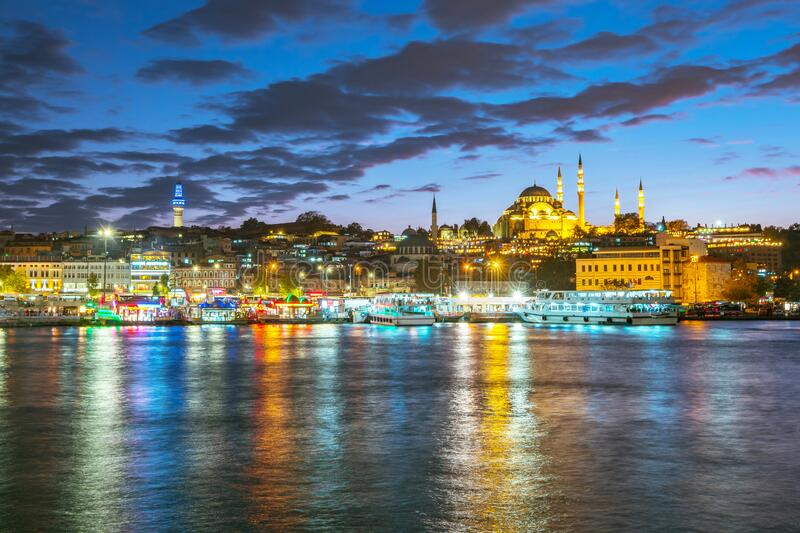 Istanbul cityscape skyline at night in Istanbul, Turkey stock images