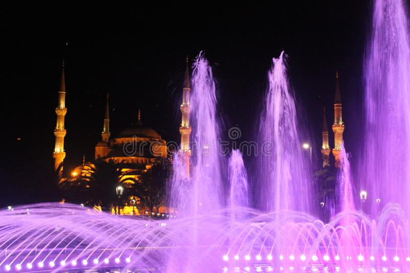 Istanbul - Colorful fountain by night royalty free stock photo