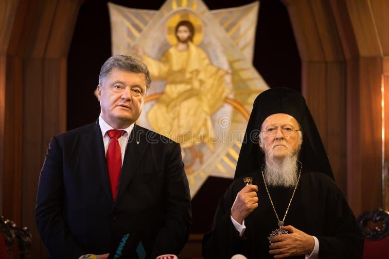 Istanbul, die Türkei - 3. November 2018: Ökumenisches Patriarchat und sein Gesamt-Heiligkeits-ökumenischer Patriarch Bartholomew  stockfotografie